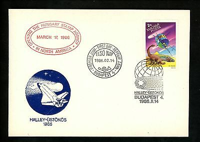 Postal History Hungary FDC #2972 Space satellite Dinosaurs Halley's Comet 1986