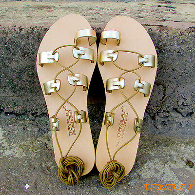 Ancient Greek Tie Up Toe Ring Premium Leather Gladiator Sandals from Greece