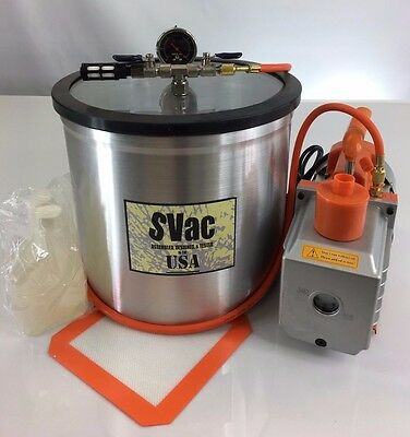 New 5 Gallon Vacuum Chamber and 6 CFM Two Stage Pump Degassing Silicone Kit