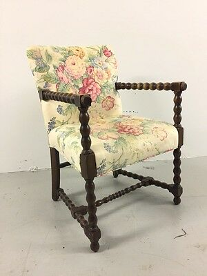 Vintage Carved Turned Walnut Jacobean Renaissance Revival Throne Arm Chair