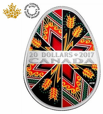 2017 Canada Traditional Ukrainian Pysanka 1OZ $20 Egg Shaped Pure Silver Coin