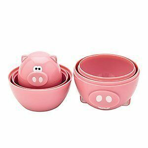 Pig Measuring Cups Set Home Kitchen Cooking Baking 6 Piece Kit Pink Plate Glass