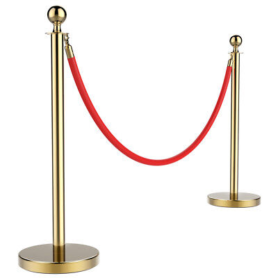 2Pcs Stainless Steel Stanchion Set/Post/Rope Velvet Velour VIP Queue Barrier