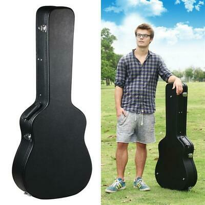 """Acoustic Hard Shell Guitar Case 41"""" Wooden Guitar Carrying Case Faux Leather"""