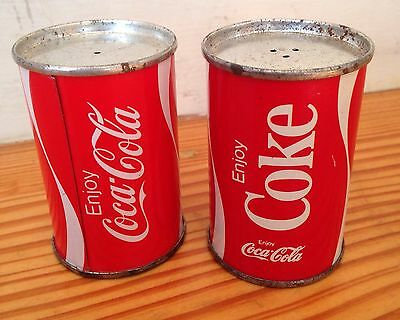 Vintage Coca Cola can metal salt and pepper shakers