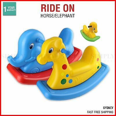 Kids Rocking Horse Ride On Toy Pony Cute Colourful Fun Toddler Baby Plastic Blue