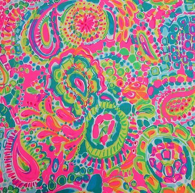 """2017 Lilly Pulitzer Dobby Cotton Fabric Pink Floral Engineered 1 yard 36""""x56"""""""