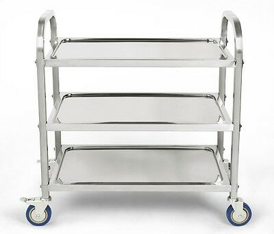 Food Trolley Cart Stainless Steel Utility Kitchen Dining Dish Service 3 Tiers