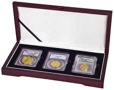 Wood Coin Box 3 Slabs Graded PCGS NGC ANACS Holders Safe Deposit Silver Eagle US