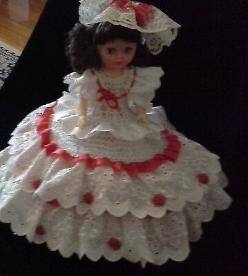 Vintage bed doll knitted lace frills