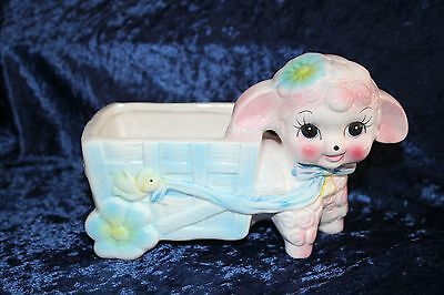 vintage lamb wagon planter ceramic nursery ornament statue flowers sheep storage