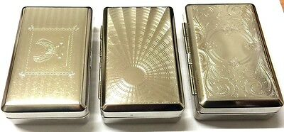 SHINY SILVER CHROME DEEP STRONG METAL TOBACCO SMOKERS TIN BOX With Paper Holder