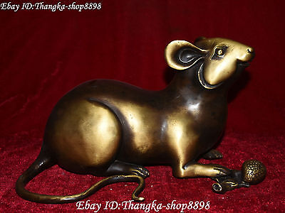 "12"" Chinese Feng Shui Pure Bronze Zodiac Year Mouse Mice Rat Rats Animal Statue"