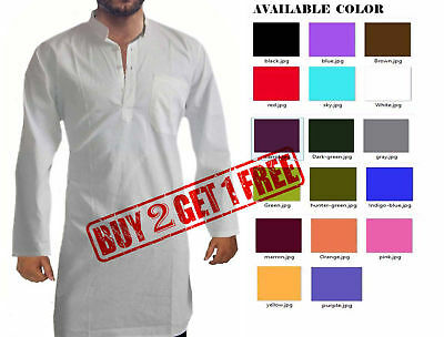 Indian Solid Men's 100% Cotton Kurta Plus Size S-7XL {27 Color available}