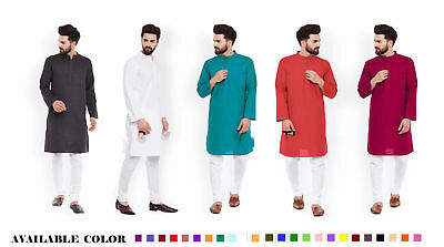 Indian Solid Men's 100% Cotton Kurta Plus Size Loose Fit S-7XL  {27 COLOR Avl. }