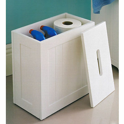 Maine White Bathroom Storage Unit Small Wooden Box Toilet Bleach Cleaning Tidy