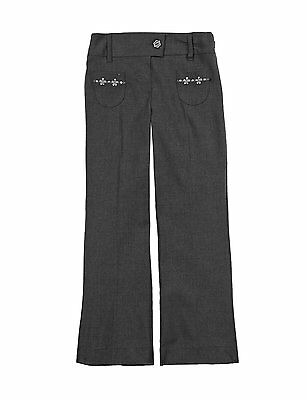Ex M&S Girls Grey Navy School Trousers with Adjustable Waist Age 4/5-11 Yrs