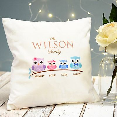 Personalised Owl Cushion - Family of 2 3 4 & 5 - Add ANY Names or Relation!