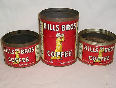 Lot of (3) Vintage 1 & 2 lb Hills Bros Coffee Cans - Copyright 1922 - 32 - 36