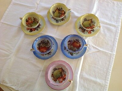 Vintage Hand Painted Tea Cups and Matching Saucers Set of 6