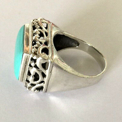 LARGE ORNATE STERLING SILVER CSX 925 BLUE STONE LADIES RING Sz 8 1/4