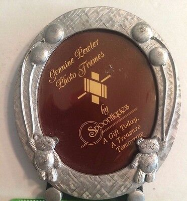 Teddy Bear Themed Pewter Round Wallet Sized Picture Frame Spoontiques