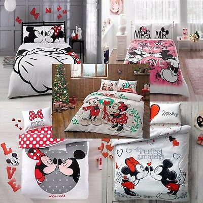 Disney Mickey And Minnie Mouse Double Queen Size Duvet Quilt Cover Set