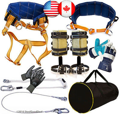 Tree Climbing Spike Set Spurs 2Harness Belt 2Safety Lanyard 2Gloves Gear Bag NEW