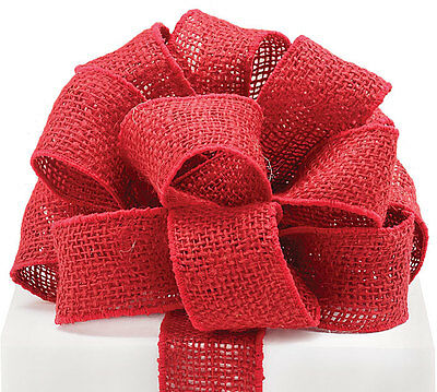 """5YDS Red BURLAP 2"""" Wired Edge Ribbon"""