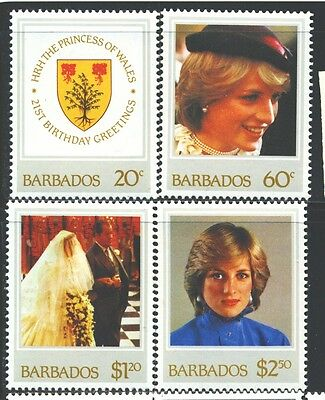 BARBADOS 585-88 SG 705-08 MNH 1982 Princess Diana 21st Birthday set Cat$3
