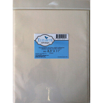 """Elizabeth Craft Clear Double Sided Adhesive Sheets 5/Pkg 8.5""""X11"""" EC502"""