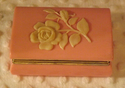 Celluloid Dresser Jewelry Box Vintage Rose Pattern - (RARE) Old