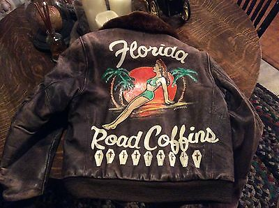 vintage WWII leather bomber jacket nose art Hot Rat Rod Car Club Distressed S