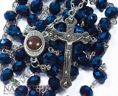 Saphire Blue Crystals Rosary Catholic Necklace With Cross and Holy Soil