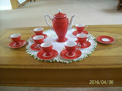 Epiag Czech Royal Vtg. Red & White Porcelain China Demitasse 16 piece Tea Set