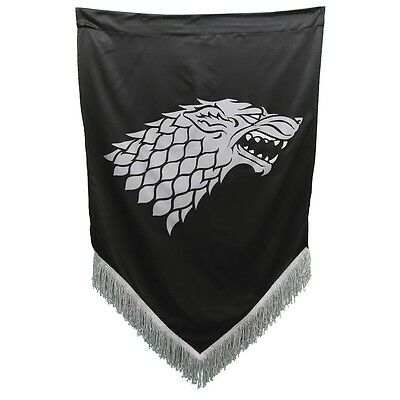 "Game Of Thrones Fringed War Banners - House Stark Crest - Large 27"" X 45"""
