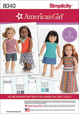 Simplicity American Girl Doll Clothes For 18 Doll One Size *PATTERN* US8040OS
