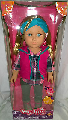 New MY LIFE AS 18-INCH OUTDOORSY GIRL DOLL - CAUCASIAN WITH BLONDE HAIR POSEABLE