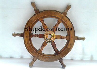 "12"" Inch Ships Wheel Wood/brass Wooden Pirate Captain Nautical Maritime"
