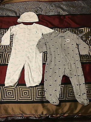 Lot Of 2 Baby Boys Carter's Pajama Sleepers - Size 9 Months