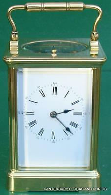 Antique French Grande Corniche 8 Day Strike Repeater Carriage Clock Serviced