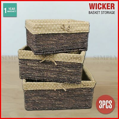 Wicker Cane Baskets Set Storage Box Small Medium Large Vintage Antique Picnic 3P