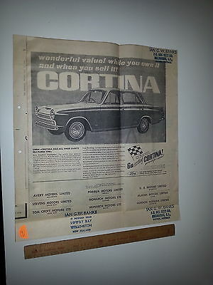 Ford Cortina Mark 1  newspaper Advert from The Dominion  NZ July 15 1965