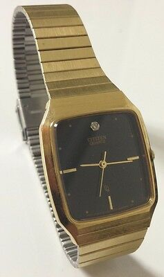 fbf7c3b24bdab Citizen Quartz Collectible Gold color Watch 4031-333514 SMG   Black Square  Face