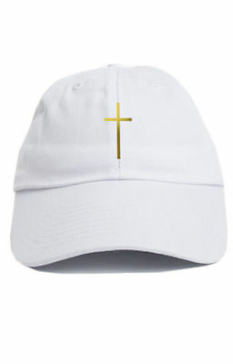 CROSS CUSTOM UNSTRUCTURED White Gold Dad Hat Cap Christian Religion ... ffe611e1398a