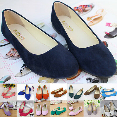 Women's Suede Boat Shoes Casual Slip On Flats Shoes Loafers Ballet Shoes FIT