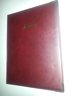 QTY 18-A4 MENU COVER IN BURG LEATHER LOOK PVC-CLASSIC + guilt corners + 2Dobl po