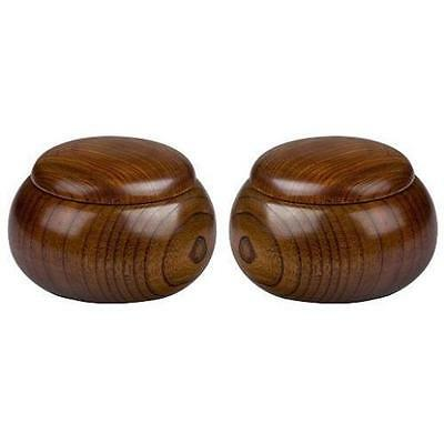 Pair Of 2 Wooden Go Game Pieces Holder Bowls Toy Play Perfect Asian Home New