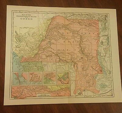 1905 Map Independent State of the Congo. Color. 9 1/2 x 11 Vintage Historical