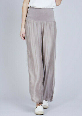 Silk Palazzo Wide Leg Trousers Jersey Lined Light Khaki Green - One Size UK 8-14